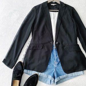 CAbi Black Blazer With Sheer Sleeves